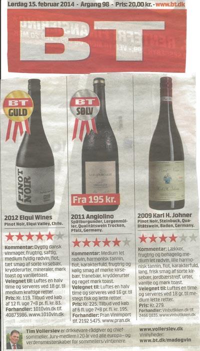 BT vælger vin fra Vinbutikken.dk til Pinot Noir Smagning - K. H. Johner - Bischoffinger Steinbuck