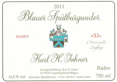 """** NY VIN ** 2011 K.H. Johner - Blauer Spätburgunder """"SJ"""" Oberrotweiler Eichberg"""