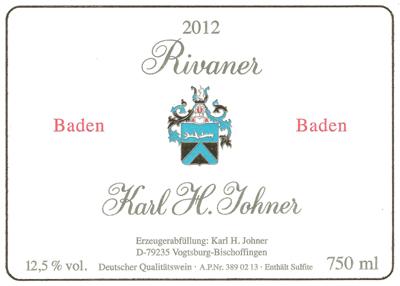 2012 K.H. Johner - Rivaner