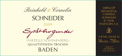 """2008 Schneider Spätburgunder Rotwein Trocken """"Schönenberg"""""""
